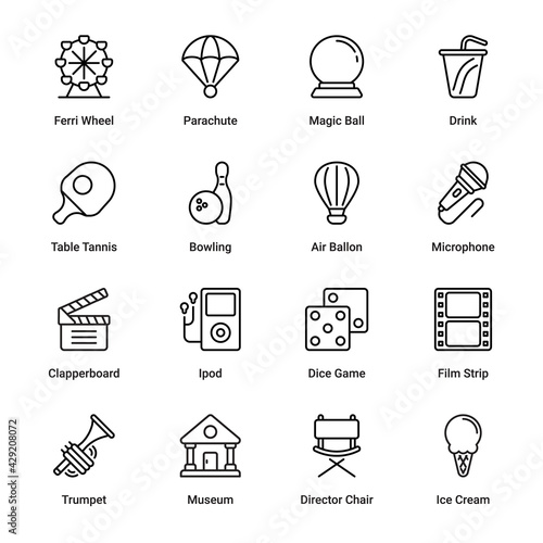 Events and Entertainment Outline Icons - Stroked, Vectors Fototapeta