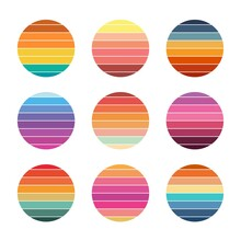 Retro Sunset Collection 80s Style. Striped Colorful Circles