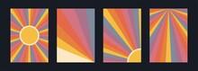 60s, 70s, 80s Retro Banners Set. Colorful Retrowave Striped Vintage Sun Burst
