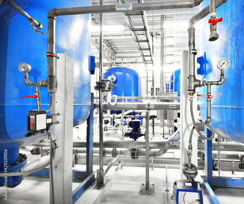 Fotografiet Large blue tanks in the industrial city water treatment boiler room