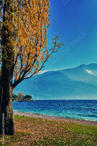 Fotografia View of the beautiful Lake Garda surrounded by mountains, Scenic view of sunset