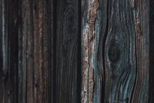Wood Knot On Worn Wooden Plank, Selective Focus