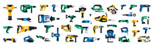 Large Collection Of Construction Power Tools. Impact Wrench, Screwdriver, Plane, Chainsaw, Jigsaw, Cordless Grinder, Glue Gun, Riveter, Dryer, Jackhammer, Rotary Hammer Drill Cordless Recip Nailer