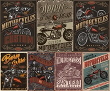 Custom Motorcycle Vintage Colorful Posters