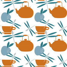 Vector Seamless Pattern With Juice And Fruits, Cup Of Tea And Tea Pots. Kettele In Scandinavian Style For Fabrics, Paper, Textile, Gift Wrap Isolated On White Background