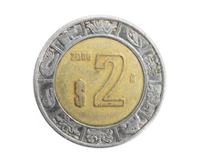 Mexico two Pesos Coin On A White Isolated Backgroun