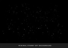 Minimal Starry Night Sky Background - Vector Few Stars Space Background
