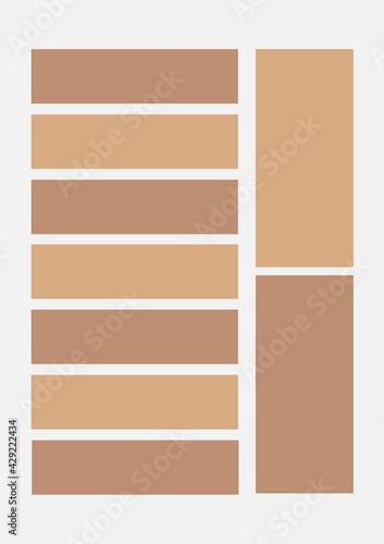 Illustration of multiple brown and beige banners with copy space on light grey background