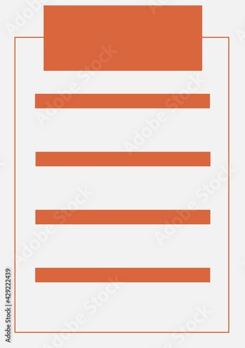 Illustration of five orange banners with copy space and frame on light grey background