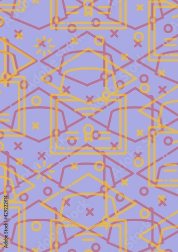 Composition of outlined graduation hats in yellow and red and briefcases on purple background