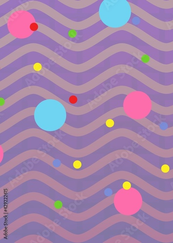 Composition of multiple brightly coloured spots on purple waved lines