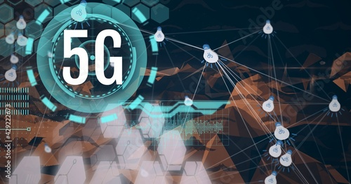Composition of 5g text over scope scanning and network of connections with light bulbs