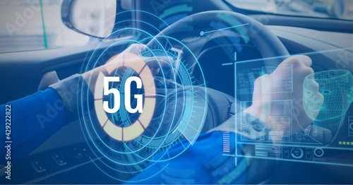 Composition of 5g text over scope scanning, digital screens and person driving car