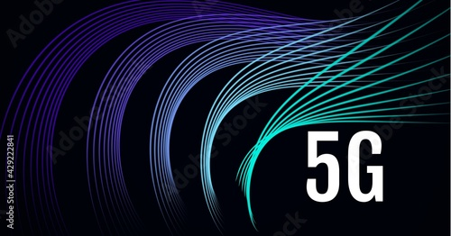 Composition of 5g text over blue to purple light trails on black background