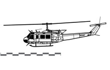Bell UH-1H Iroquois, Huey. Vector Drawing Of Utility Helicopter. Side View. Image For Illustration And Infographics.