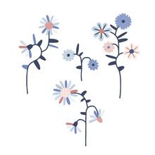 Daisy Flower Vector Illustration Set. Scandinavian Folksy Floral Bloom Clip Art Collection Isolated On White. Decorative Modern Folk Art Graphics
