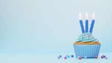 Festive Background With Cupcake With Blue Glaze And Three Candles On Blue, Empty Space On The Left. 3d Rendering. Birthday Greeting Card.