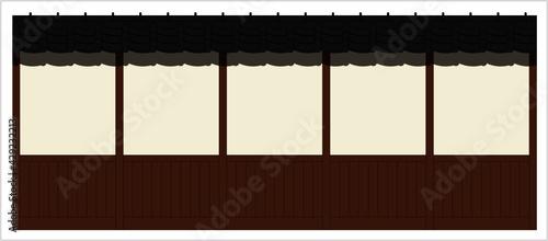 Fotografie, Tablou 和風壁の立面図イラスト