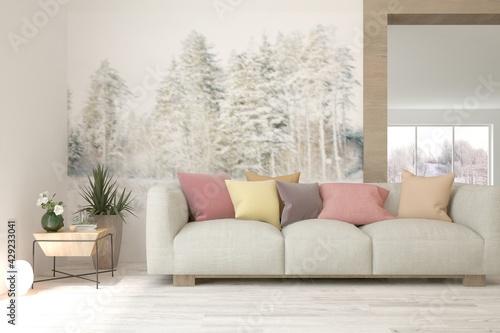 Obraz Soft color living room with sofa. Scandinavian interior design. 3D illustration - fototapety do salonu