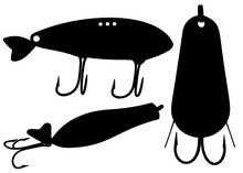 Fishing Tackle For Catching A Predator In A Set. Vector Image.