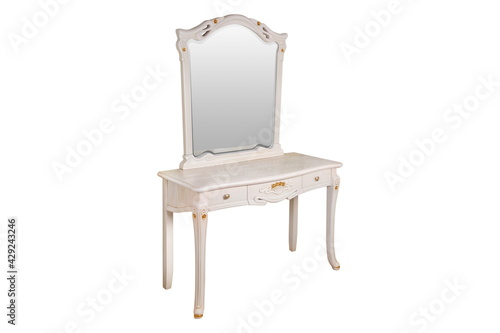 white table dresser with mirror Fototapet