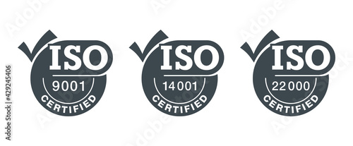 ISO certified stamps with big check mark - fototapety na wymiar