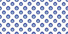Blue Evil Eye Amulet Seamless Pattern Vector On Isolated White Background. Decorative Turkish And Greek Evil Eyes.