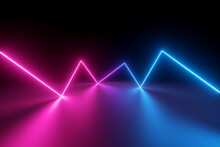 3d Render, Abstract Background With Zigzag Line Glowing Neon Light, Laser Beam