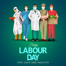 A Group Of People Of Different Professions. Doctor,business Man, Worker. Set Of Occupations. Labour Day On 1 May. Coronavirus, Covid-19 Concept. Vector Illustration..