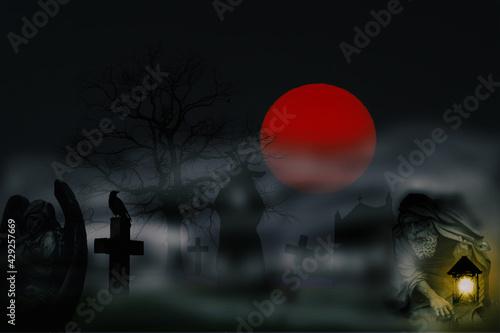Photo Cemetery Night