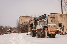 Old Rusty Abandoned Tractors In Winter