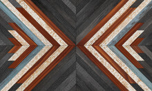 Wooden Background. Dark Vintage Wooden Panel With Chevron Pattern For Wall Decor.