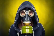 Woman Wearing A Gas Mask