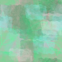 Seamless Pattern Of Abstract Elements Of Green Shades On A Light Background For Textiles.