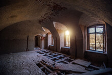 Old Ruined Abandoned Historical Mansion, Inside View