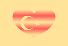 Abstract Flag Of Turkey In Grunge Heart Shaped. Pastel Background. Grain.