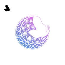 Moon Crest With Butterfly Concept And Line Art Style Design Vector