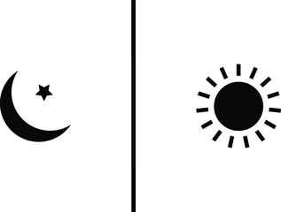 Crescent moon and sun
