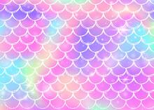 Rainbow Scales Background With Kawaii Mermaid Princess Pattern.