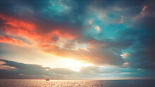 Sunset With Colorful Clouds Over Seascape Aerial. Sun Setting Water Reflection. Romantic Cloudscape At Evening. Lonely Sailboat At Ocean Bay. Nobody Nature Landscape. Sky Background. Bright Colors