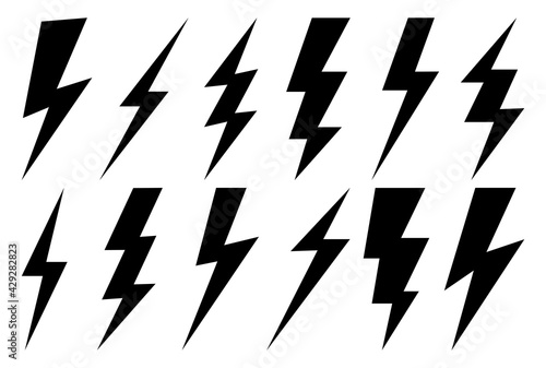 Lightning bolt icons set.Vector simple icons in flat style. Set lightning bolt vector on white background.Vector illustration - fototapety na wymiar