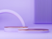3D Rendered Podium For Your Product Showcase. Violet Matt Shapes With Gold Elements. Vector 3d Illustration.