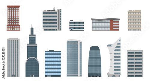 Fényképezés Office city building vector set in flat style