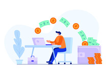 Man Getting Paid From Online Work. Coins And Dollar Bills Fly Into Wallet. Businessman Has Passive Income. Financial Freedom Concept. Flat Vector Illustration