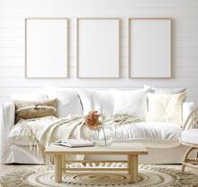 Mock Up Frame In Cozy Home Interior Background, Coastal Style Living Room, 3d Render