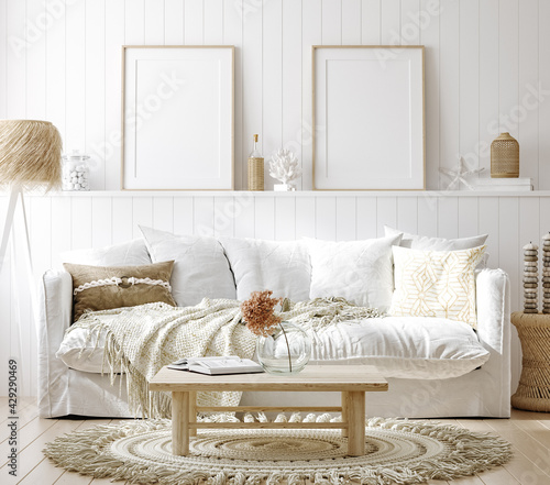 Mock up frame in cozy home interior background, coastal style living room, 3d render - fototapety na wymiar