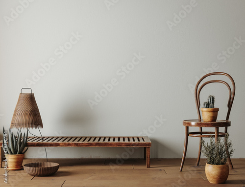 Foto Farmhouse living room interior with wooden furniture, wall mockup, 3d render