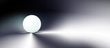 Dark abstract background, tech composition, sphere, white ball in darkness. Clean, round object, orb round shape. Geometric simple cover design , figure, form. Minimal. Vector.