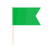 A Colored Flag On A Flagpole. Green Flag. Vector