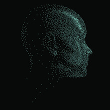 Silhouette Of A 3d Human Head Made Of Dots And Particles. Concept Of Artificial Intelligence And Neural Network.